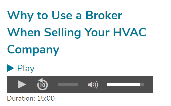 snapshot of Why to Use a Broker When Selling Your HVAC Company
