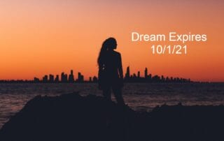 sunset with woman and date of 10-1-21 dream expires text